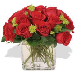 İstanbul hediye sevgilime hediye çiçek  10 adet kirmizi gül ve cam yada mika vazo