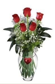 İstanbul İnternetten çiçek siparişi  5 adet kirmizi gül ve kalp çubuklu