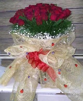 41 adet kırmızı gülden kız isteme buketi  İstanbul online çiçekçi , çiçek siparişi
