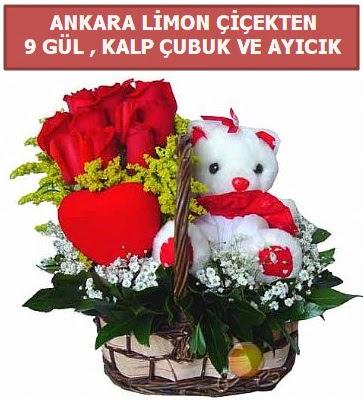 Kalp çubuk sepette 9 gül ve ayıcık  İstanbul hediye sevgilime hediye çiçek