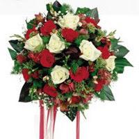 İstanbul çiçek mağazası , çiçekçi adresleri  6 adet kirmizi 6 adet beyaz ve kir çiçekleri buket
