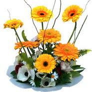 camda gerbera ve mis kokulu kir çiçekleri  İstanbul hediye sevgilime hediye çiçek