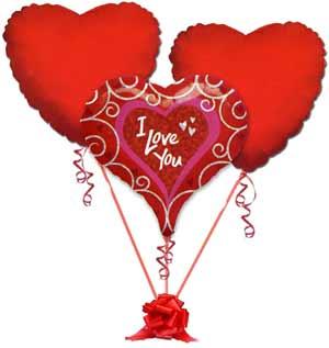 İstanbul çiçek yolla  3 adet büyük boy kalp uçan balon