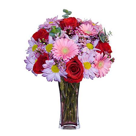 Görsel hediye karisik cam mevsim demeti  İstanbul güvenli kaliteli hızlı çiçek