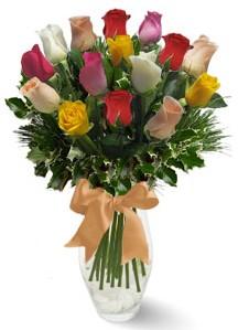 15 adet vazoda renkli gül  İstanbul online çiçekçi , çiçek siparişi