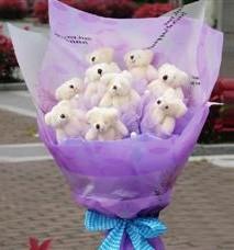 11 adet pelus ayicik buketi  İstanbul çiçek mağazası , çiçekçi adresleri