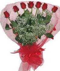 7 adet kipkirmizi gülden görsel buket  İstanbul internetten çiçek satışı