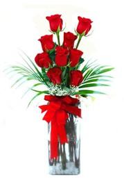 İstanbul hediye sevgilime hediye çiçek  9 adet mika yada cam vazoda gül tanzimi