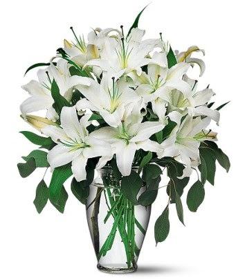 İstanbul online çiçekçi , çiçek siparişi  4 dal kazablanka ile görsel vazo tanzimi
