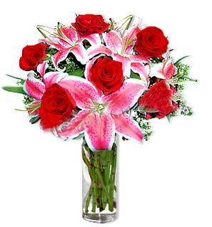 İstanbul 14 şubat sevgililer günü çiçek  1 dal cazablanca ve 6 kırmızı gül çiçeği