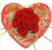 Mika kalp içerisinde 7 adet kırmızı gül  İstanbul güvenli kaliteli hızlı çiçek