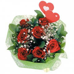 Vazo içerisinde 9 gül ve 2 kalp çubuk  Hediye Çiçek İnternetten çiçek siparişi