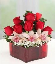 3 kandil orkide 5 kırmızı gül kalp mika  İstanbul online çiçekçi , çiçek siparişi