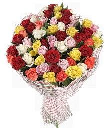 51 adet rengarenk gül buketi  İstanbul internetten çiçek satışı