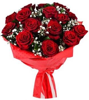 Kız isteme çiçeği buketi 17 adet kırmızı gül  İstanbul hediye sevgilime hediye çiçek