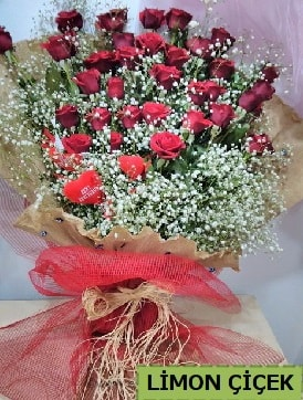 Kız isteme çiçeği buketi 33 kırmızı gülden  İstanbul online çiçekçi , çiçek siparişi