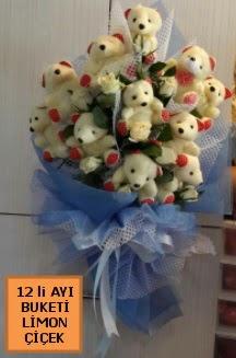 12 Adet ayıcıktan peluş ayı buketi  İstanbul 14 şubat sevgililer günü çiçek
