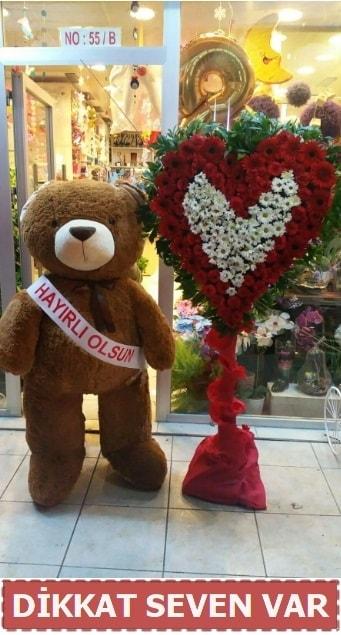 1.5 Metre peluş ayı ve Kalp  Hediye Çiçek uluslararası çiçek gönderme