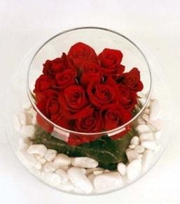 Cam fanusta 11 adet kırmızı gül  İstanbul anneler günü çiçek yolla