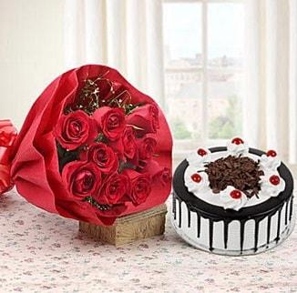 12 adet kırmızı gül 4 kişilik yaş pasta  İstanbul çiçek servisi , çiçekçi adresleri