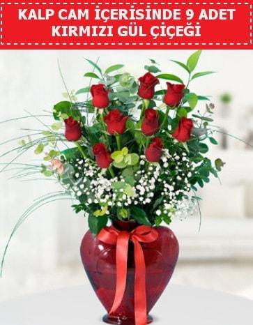 Kırmızı kalp camda 9 kırmızı gül  İstanbul çiçek online çiçek siparişi