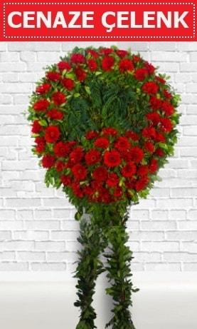 Kırmızı Çelenk Cenaze çiçeği  İstanbul cicekciler , cicek siparisi
