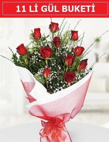 11 adet kırmızı gül buketi Aşk budur  İstanbul uluslararası çiçek gönderme