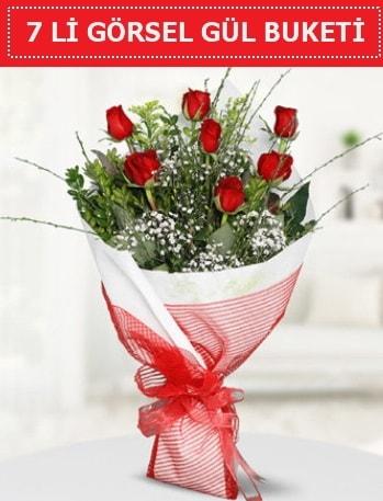 7 adet kırmızı gül buketi Aşk budur  İstanbul çiçek online çiçek siparişi