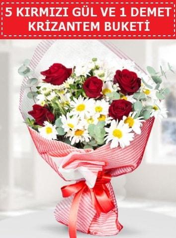 5 adet kırmızı gül ve krizantem buketi  İstanbul çiçek online çiçek siparişi