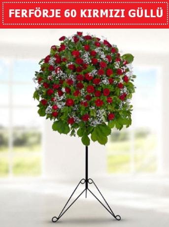 60 Adet kırmızı gülden ferförje  İstanbul çiçek mağazası , çiçekçi adresleri