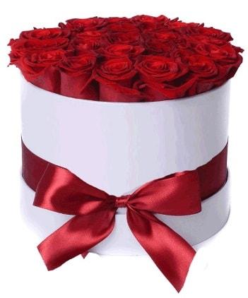 29 adet kırmızı gülden kutu çiçeği  İstanbul internetten çiçek siparişi