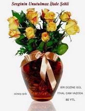 İstanbul online çiçekçi , çiçek siparişi  mika yada Cam vazoda 12 adet sari gül